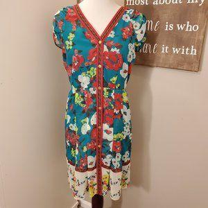 New York & Co. Teal Floral Dress